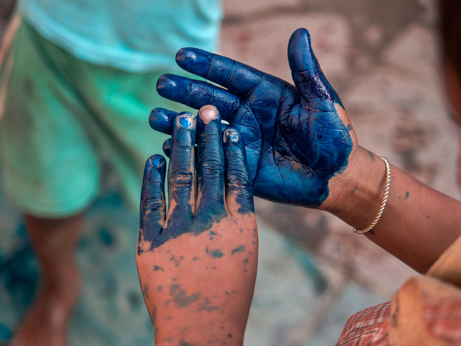 Kids playing with dye